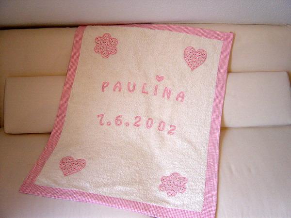 hochwertige babydecke rosa mit name und datum paulili. Black Bedroom Furniture Sets. Home Design Ideas